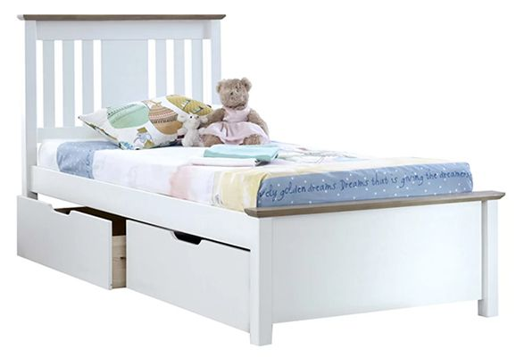 Andres Kids European Single Bed Frame Drawers