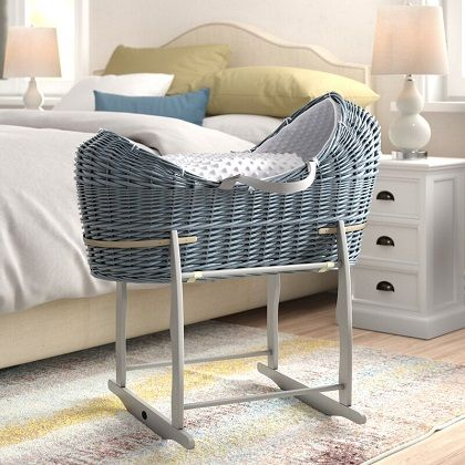 Byrd Moses Basket with Bedding, Mattress and Stand, by Harriet Bee