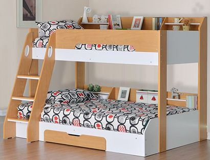 Flick Triple Bunk Bed in Maple with storage