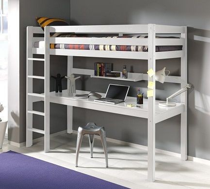 Alvarez European Single High Sleeper Bed with Desk, by Harriet Bee