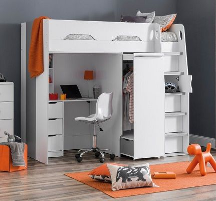 Joachim Single High Sleeper Bed with Built-In Wardrobe, by 17 Stories