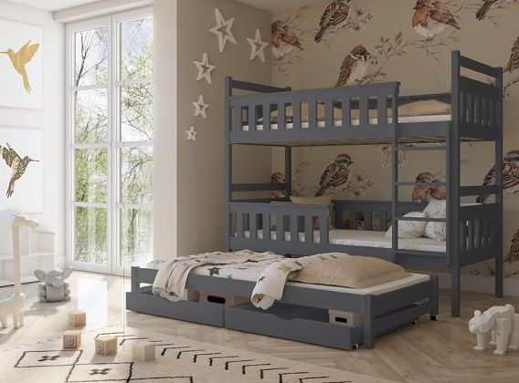 Betsy Triple Sleeper Bunk Bed with Storage, by Harriet Bee