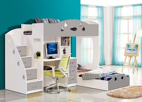 Linette European Single L-Shaped Bunk Bed and Furniture Set, by Zoomie Kids