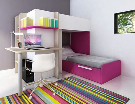 Tiger Lily Single L-Shaped Bunk Bed with Desk and Wardrobe