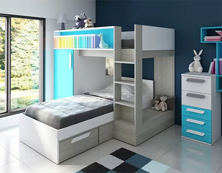 Vinehall Single L-Shaped Bunk Bed with Wardrobe and Drawer