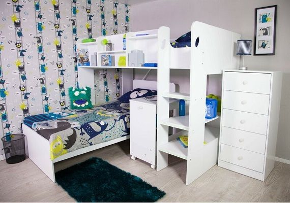 Wizard L-Shape Bunk Bed with Shelf, by Home Loft Concept