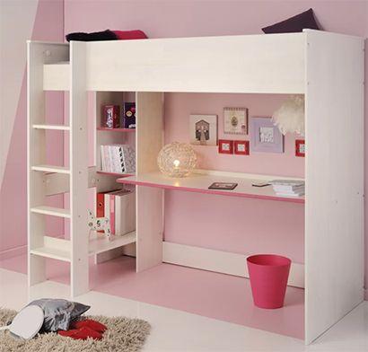 Abdullah High Sleeper Bed with Desk Shelves Harriet Bee