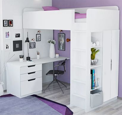 Alena High Sleeper Bed with desk and wardrobe