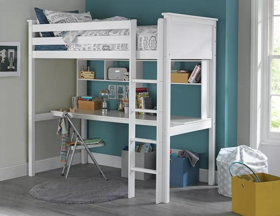 Argos Home Brooklyn High Sleeper Bed, Desk & Shelves