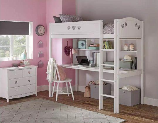Argos Home Mia High Sleeper Bed Frame, Desk & Shelves