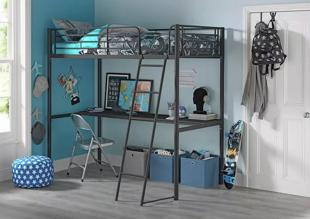Argos Home Riley High Sleeper Metal Bed and Desk
