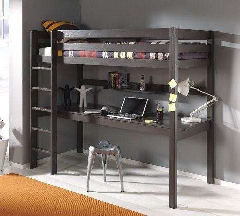 Ethridge European Single High Sleeper Bed with Desk, by Zoomie Kids