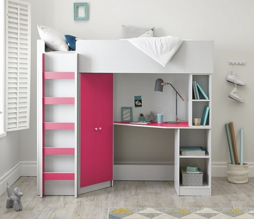 Miami Fresh High Sleeper Bed with Desk, Wardrobe and shelves