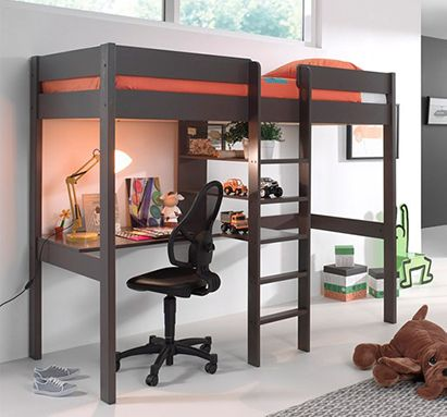 Pino-Taupe-High-Sleeper-with-Desk Cuckooland