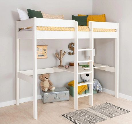 Stompa Compact High-Sleeper Bed Frame with Desk and Shelving