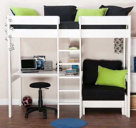 Stompa European Single High Sleeper Bed with Shelves and Desk