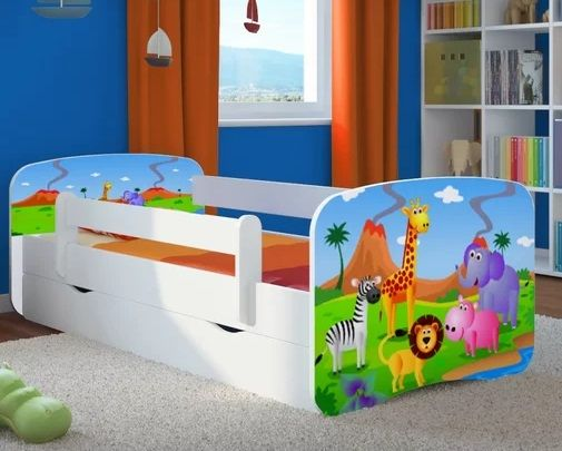 Caswell Cabin Bed with Mattress and Drawer Jungle Animals