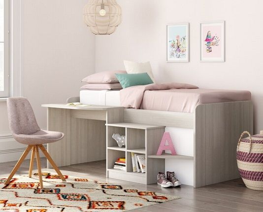 Alessia Mid Sleeper Bed with desk, by Harriet Bee