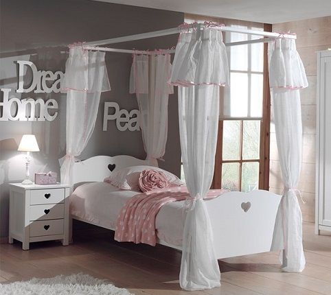 Amori Kids Four Poster Bed with Curtains, by Cuckooland