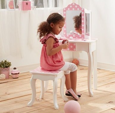 Kadence Children's Wooden Vanity Dressing Table & Mirror Stool Set