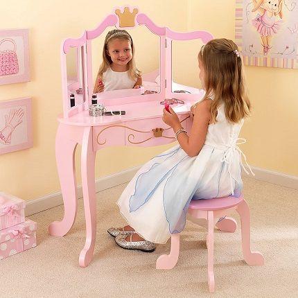 KidKraft Princess Wooden Vanity Stool with Mirror
