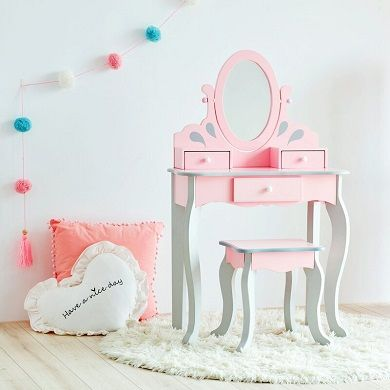 Kids Dressing Table Set with Mirror, by Teamson Kids