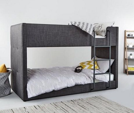Lubana Upholstered Bunk Bed in Grey