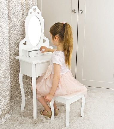 Runesol Girls Dressing Table With Stool and Mirror (Ages 3-7)