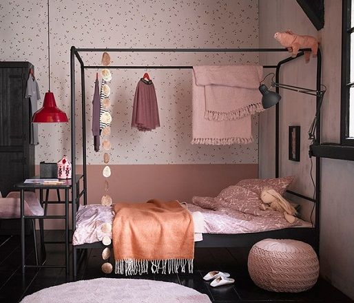 Single Black Metal Four Poster Bed by Woood