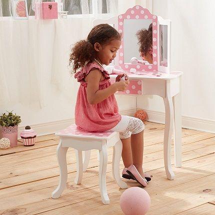Teamson Kids Fashion Prints Polka Dot Wooden Dressing Table and Stool Set