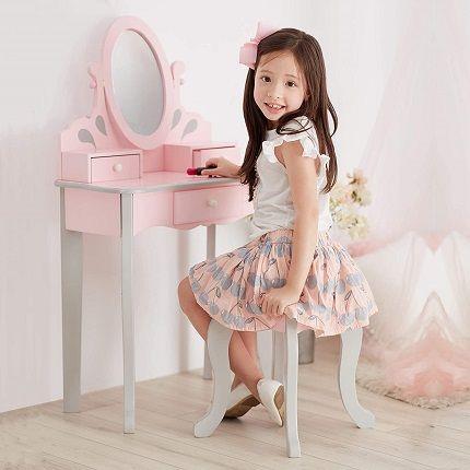 Teamson Kids Little Princess Rapunzel Girls Wooden Dressing Table Vanity Set