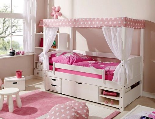 Von European Toddler Four Poster Bed with Drawers, by Harriet Bee