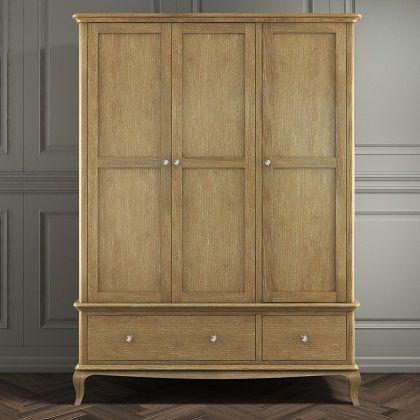 Fonteyn Solid Oak Wardrobe 3 Door 2 Drawer - French Style