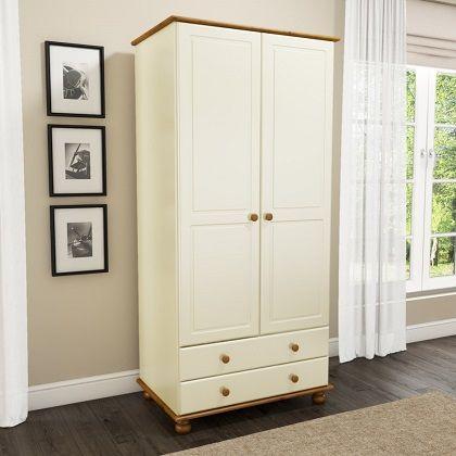Hamilton 2 Door 2 Drawer Wardrobe in Cream and Pine
