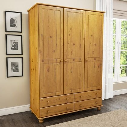 Hamilton 3 Door 4 Drawer Wardrobe in Pine with Next Day Delivery