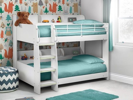 Abby Single Bunk Bed with Bookcase and Mattresses, by Just Kids