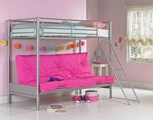 Argos Home Metal Futon Bunk Bed, Fuchsia Futon & Kids Mattress