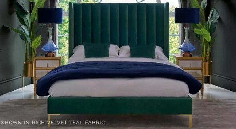 Arlo Upholstered Emperor Bed by Feather & Black