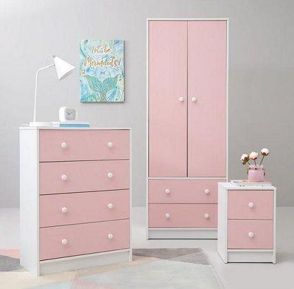 Conway 3 Piece Childrens Bedroom Set in Pink