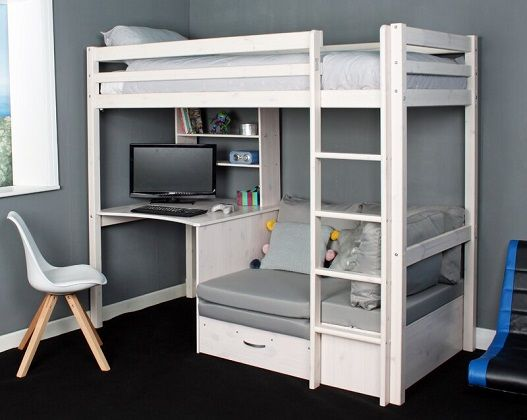 Cutler European Single High Sleeper Loft Bed with Shelf, Desk, and Futon, by Isabelle & Max