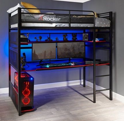 Gaming Single (3') Metal High Sleeper Bed, by X Rocker