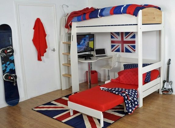 Jodi European Single L-Shaped Bunk Bed with Chair Bed and Desk, by Zoomie Kids