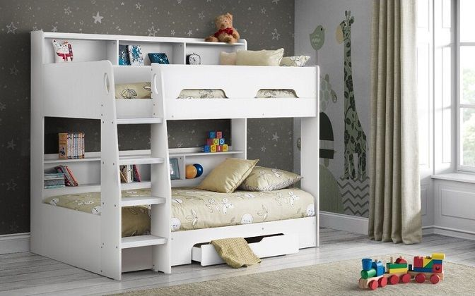 Kieran Bunk Bed With Drawers, Shelves, and Mattresses, by Harriet Bee