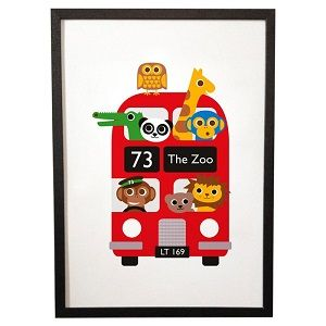 'London Zoo Bus' by Dicky Bird Graphic Art Print Poster, by Zoomie Kids