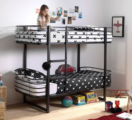 Oscar Metal Bunk Bed in black or white, by Cuckooland