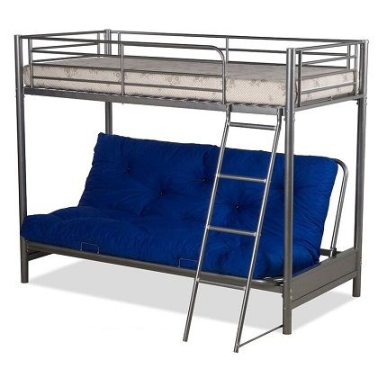 Futon Bunk Bed in Silver Metal Finish, by Visco Therapy