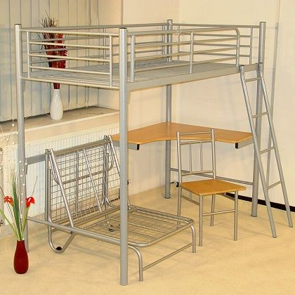 Single Metal High Sleeper Loft Bed, by Isabelle & Max