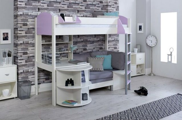 Trevino Single High Sleeper Loft Bed with Shelf, Desk, and Futon, by Isabelle & Max