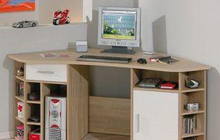 Vasto Wooden Corner Home Office Desk In Oak And White