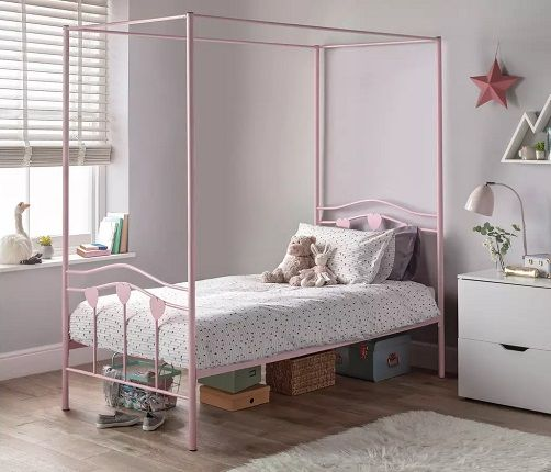 Argos Home Hearts Single 4 Poster Metal Bed Frame - Pink